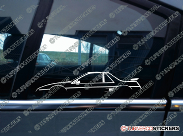 2x Car Silhouette sticker - Pontiac Fiero GT fastback sports car